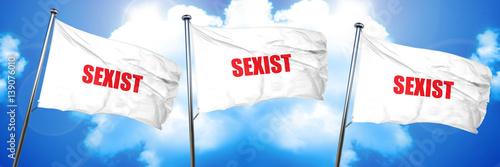 Photo  sexist, 3D rendering, triple flags