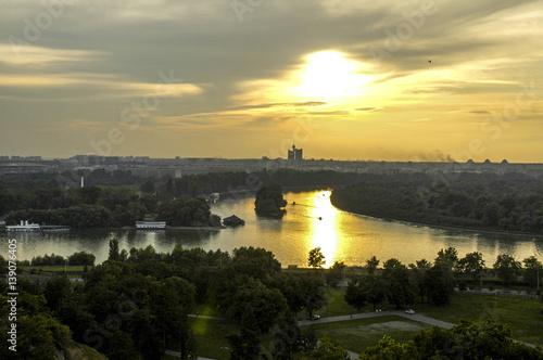 Beograd, river Save meets river Danube, Genex Tower, Serbia-Mont