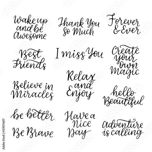 Lettering Quotes Set Motivation For Life And Happiness Calligraphy