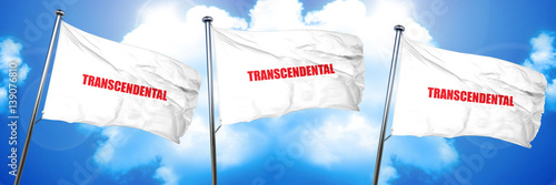 Photo  transcendental, 3D rendering, triple flags