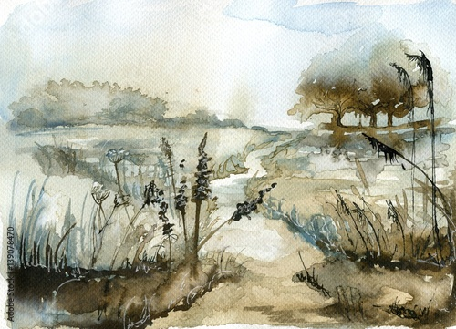 Montage in der Fensternische Aquarelleffekt Inspiration Watercolor landscape with trees.