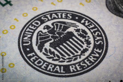 Fotografie, Tablou Federal reserve system symbol. Macro shot.