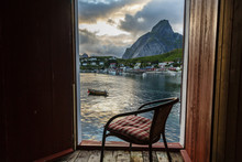 View From The Scenic Cabin Of A Hotel In Reine, Lofoten Islands, Norway.Lofoten Islands, Norway.