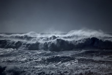 Stormy Waves Approaching Coast