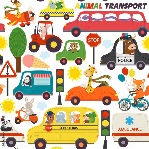 Cotton fabric seamless pattern transports with animals - vector illustration, eps