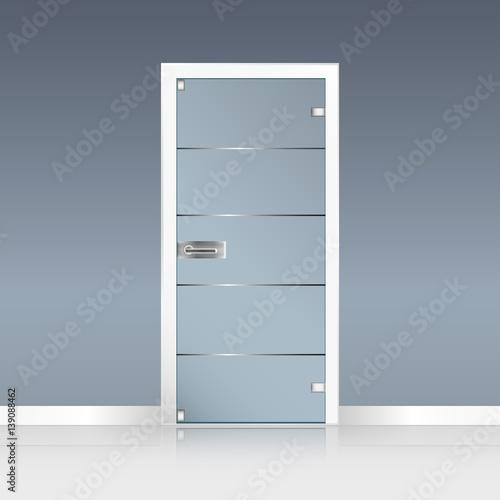 Glass door set with Door handle isolated on transparent b Canvas Print