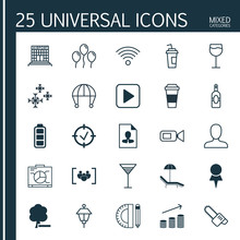 Set Of 25 Universal Editable Icons. Can Be Used For Web, Mobile And App Design. Includes Elements Such As Wineglass, Lantern, Coins Growth And More.