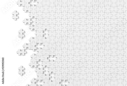 Plain Jigsaw Puzzle On White Background Abstract Wallpaper