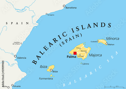 Map Of Spain Coast.Balearic Islands Political Map With Capital Palma Archipelago Of