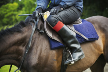 Close Up Of A Rider Wearing Black Riding Boots, Sitting On A Bay Horse.