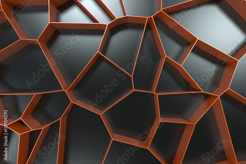 Abstract colored 3d voronoi grate on black background - 139104293