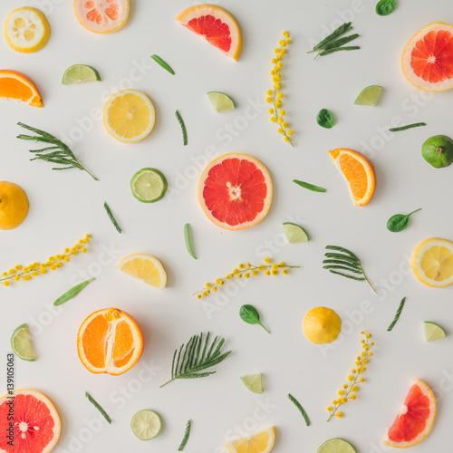 Deurstickers Keuken Colorful food pattern