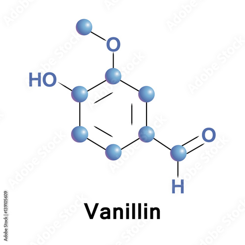 Vanillin is a phenolic aldehyde, which is an organic compound, its functional groups include aldehyde, hydroxyl, and ether Canvas Print