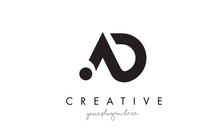 AD Letter Logo Design With Cre...