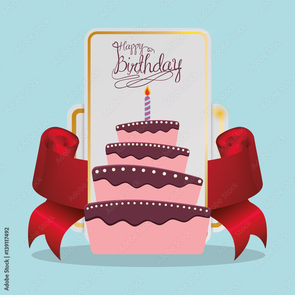 Happy Birthday Cake Card Festive Vector Illustration Eps 10 Foto Poster Wandbilder Bei EuroPosters