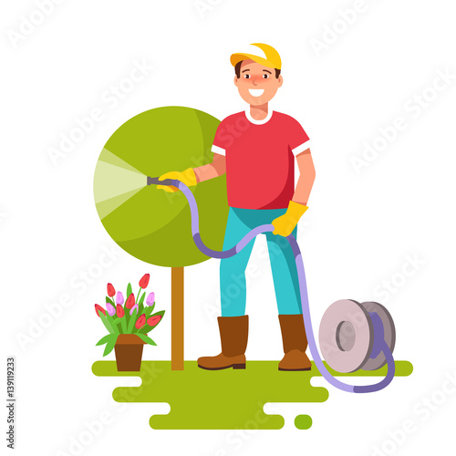 Young Man Watering Plants In Garden Hose With Sprinkle Concept Of Professional Gardener Vector Illustration In Flat Style Buy This Stock Vector And Explore Similar Vectors At Adobe Stock Adobe Stock