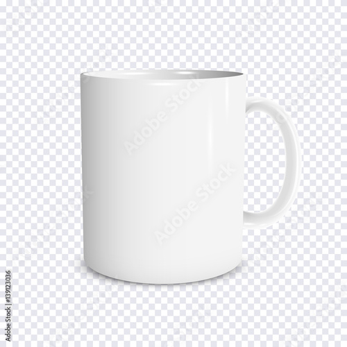 Obraz Realistic white cup isolated on transparent background - fototapety do salonu