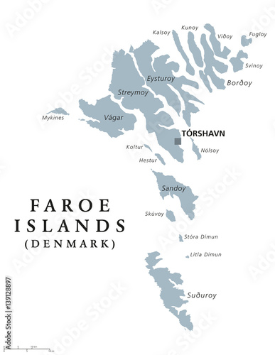 Faroe Islands political map with capital Torshavn, also the ...