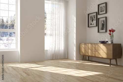 White empty room with shelf and winter landscape in window. Scandinavian interior design. 3D illustration