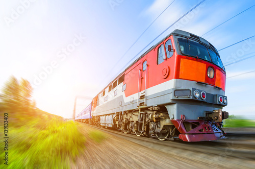Passenger diesel train traveling speed railway wagons journey light