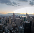 Aerial view of Manhattan Skyline at sunset - New York, USA
