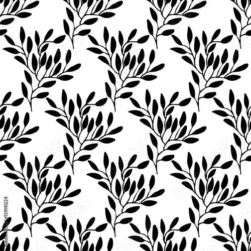 Poster Floral black and white Leaf pattern set