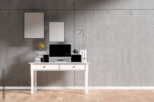 3d Rendering Illustration Of Interior Creative Designer Office Desk With Pc Computer Laptops Mock Up Working Place Of Graphic Design Light From Outside Loft Cement Wall Buy This Stock Illustration And