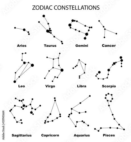 Zdjęcie XXL Wektor. Konstelacje 12 znaków zodiaku, konstelacji, ikon. Znak zodiaku gwiazd na białym tle. Świecące linie i punkty. Mapa gwiazd, mapa. Konstelacje z tytułami. Głęboka przestrzeń