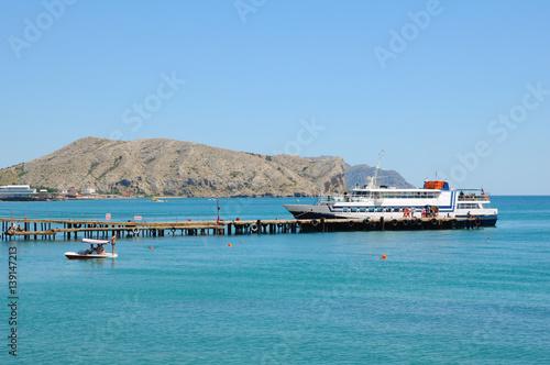 Fototapeta Marine Pleasure boat in the bay of the spa town obraz na płótnie