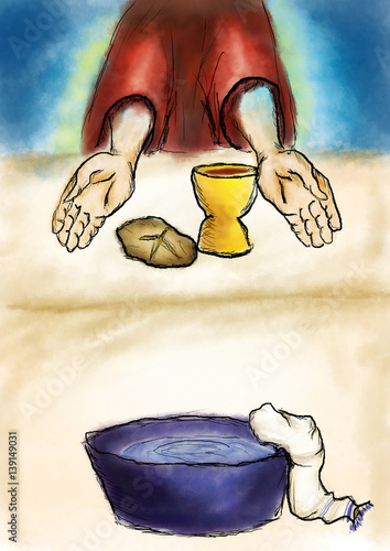 Maundy Or Holy Thursday Abstract Artistic Illustration In Watercolor Style Last Supper Of Jesus Christ With Bread And Wine And Water For Washing Of The Feet Buy This Stock Illustration And