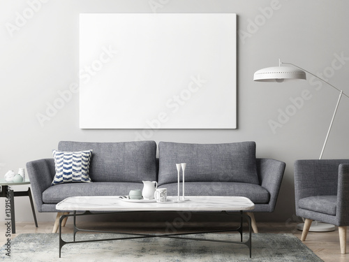 Foto op Aluminium Wand Mock up poster in hipster living room background, 3d illustration