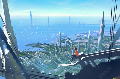 aerial view with the man sitting on edge of building looking at futuristic city,illustration painting