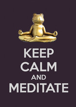 Buddha Frog Meditating In Lotus Pose. Keep Calm And Meditate Quote