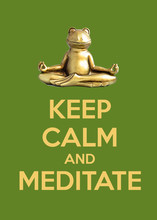 Frog Sitting In Lotus Pose. Keep Calm And Meditate