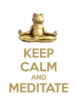 Smiling Gold Yoga Frog Meditating In Lotus Pose. Keep Calm And Meditate. Isolated On White