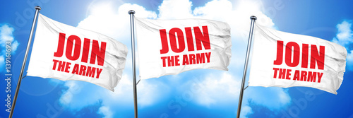 Photo  join the army, 3D rendering, triple flags
