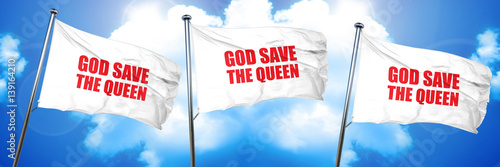 Photo  god save the queen, 3D rendering, triple flags