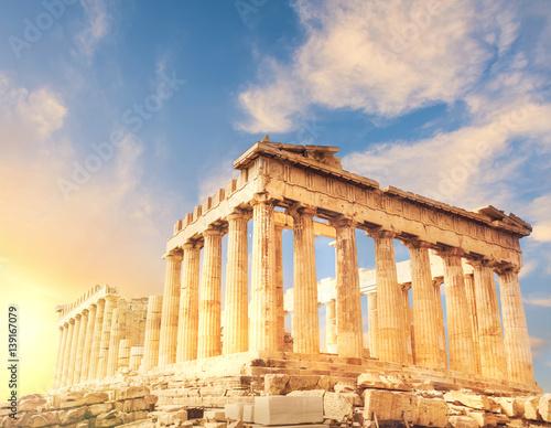 Poster Ruine Parthenon temple, the Acropolis in Athens, Greece