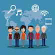 people communication network world vector illustration eps 10