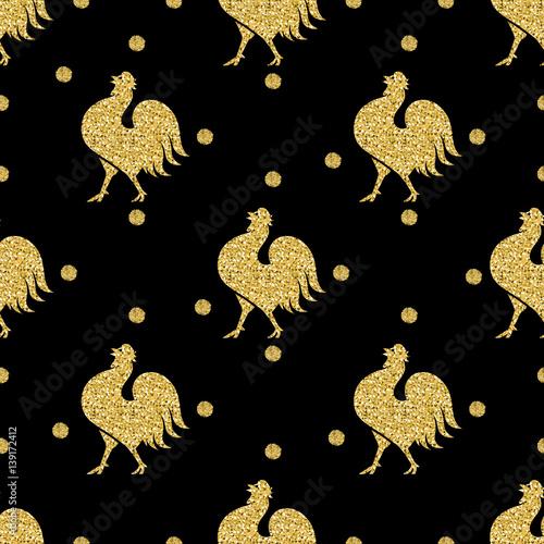 bezszwowe-zloto-brokat-kurczaka-ze-zlotym-wzorem-kropki-brokat-na-czarnym-tle