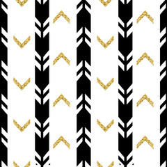 Fototapetaseamless black arrow with gold glitter pattern background