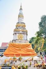 Ancient Buddhist Pagoda At Wat Pho Chai In Nong Khai Province, Thailand