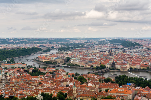 Photo  Top view to old town, Vltava and Karluv most in Prague, Czech republic from an observation deck on Petrin hill