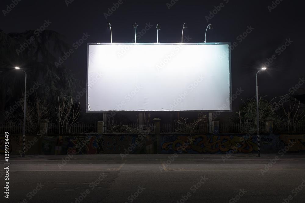 Fototapety, obrazy: Blank billboard at night time.