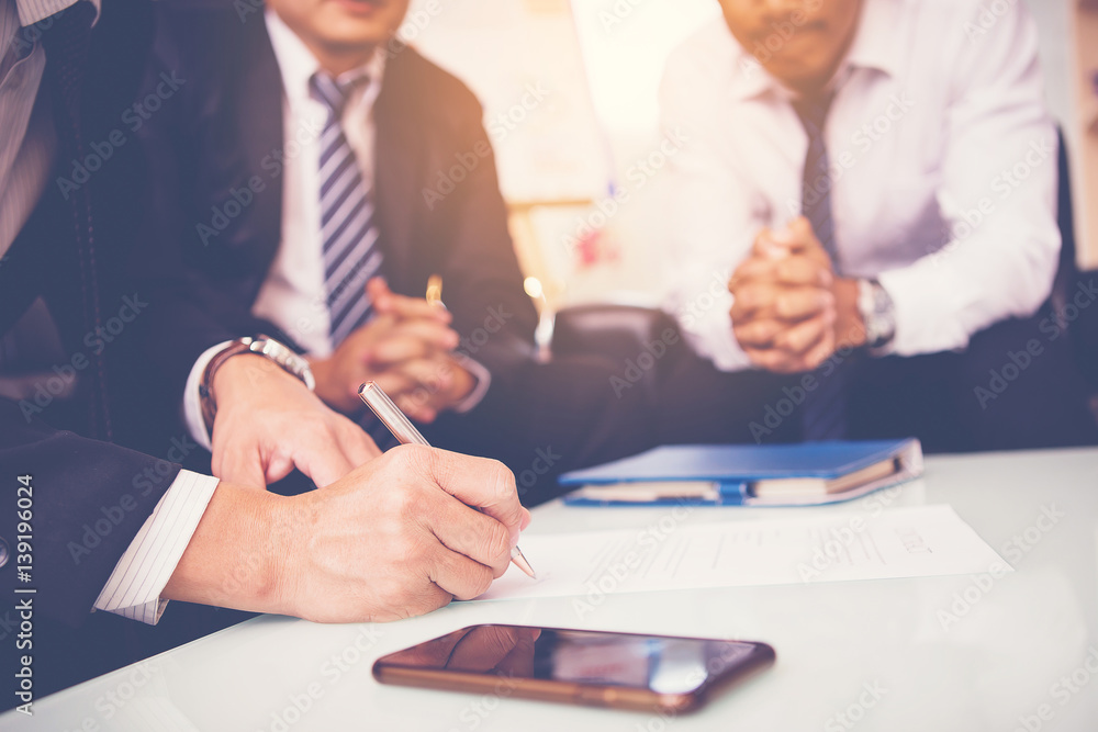 Fototapeta businessman sign in contract with partnership in meeting