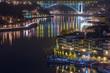 night cityscape view city of Porto and Douro river in Portugal