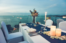 Romantic Dinner Setting With Process Vintage Style