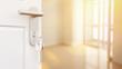 Leinwanddruck Bild - Offene Tür mit Schlüssel in neuer Wohnung