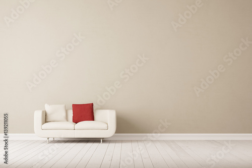 Weisses Sofa Vor Wand Im Wohnzimmer Buy This Stock Illustration And