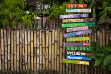 Directions With Distance To Cities Of The World. Tropical Background